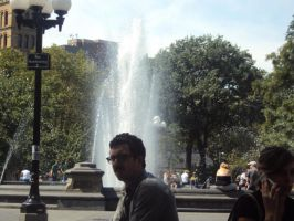 Man and Fountain by xlaxmotax