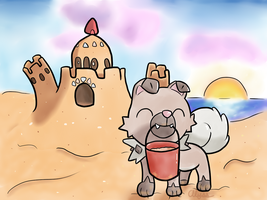 Rockruff and Palossand