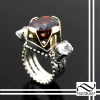 Master Cut Garnet Crown Ring by mooredesign13