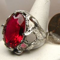 Ruby Stone Solid Sterling Silver Vine Ring Jewelry by JandSGems