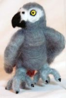 Needle Felted African Grey IV by The-GoblinQueen