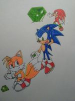sonic tails knuckles master emerald by artsonx