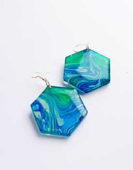 Large Green and Blue Resin Hexagon Earrings by FragmentsOfMyrh