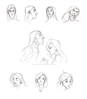 Keldrin and Galiae Face Study - Part One by BeeInDreaming