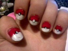 Pokeball nails by Cartoon-punk