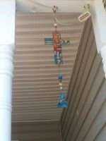 Stain glass Cross wind chime by OddGarfield