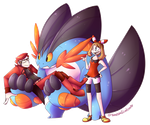 Mega Swampert, the nerd and May by VanessaGiratina
