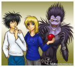 Kimmy with L and Ryuk by Amarevia