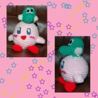 Kirby with Yoshi hat by DarkTeaCrochet