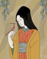 Japanease woman with bird by BlackBy
