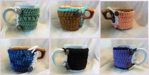 Crochet Coffee Cup Cozies by Ashler-Sauce