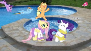 Mane 6 At The Pool by Macgrubor