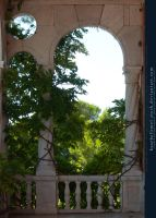 Marble Balcony with arch and plant II by kuschelirmel-stock