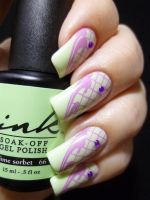 Green and Purple Stamped Nail Art by TenLittleCanvases