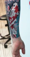 white red koi by tattoozone