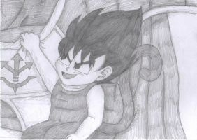 Baby Vegeta being held by his father by gothgirl9678