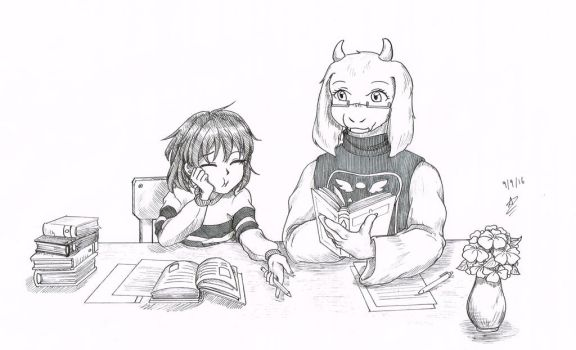 Undertale - Studying with Toriel by wishmakerx