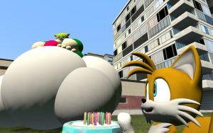 Tails stuffing Cosmo by Writerman674