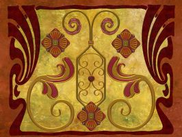 Art Nouveau in Brown and Gold by kabegami