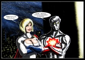Powergirl and Captain Atom by adamantis