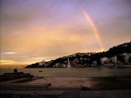 Rainbow with Wellington Sunset by Galato901