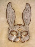 Distressed Leather Splicer Rabbit Mask by bezidesigns