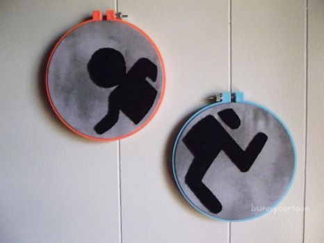 Portal embroidery art pieces by usamimi
