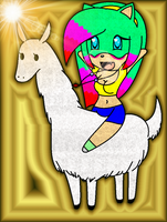 Chibi Sparkia is riding a llama by SonicUS1000