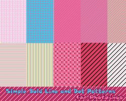 Simple Bold Line and Dot Patterns for Photoshop by probablycrafting
