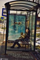 My friend at bus stop by ANTIDESIGNs