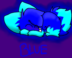 small blue drawing by BlueTheFoxx