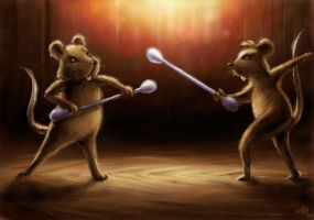 Mouse ear stick fight by Bakenius