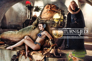 Natalie Portman|Princess Leia Slave|Jabba The Hutt by c-edward