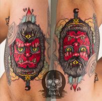 two faced demon tattoo by Valencia-art