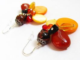 Cluster Earrings - Fire by VioletRosePetals