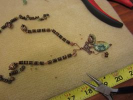 In Progress: Copper and Green Necklace by SadiesAccessories