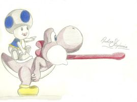 Toad and Yoshi by andrea-steph