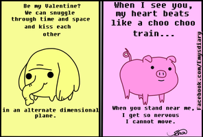 Valentines Card Tree Trunks and mr pig by EmilysDiary