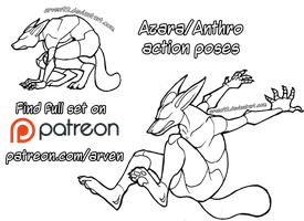 Pose Reference: Anthro Action Poses + DLC by ARVEN92