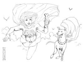 Superchica y Krypto lapices by augustustodopoderoso