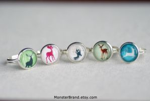 Lovely Deer Ring Collection by foowahu-etsy