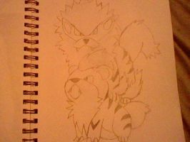 Arcanine and Growlithe by Emperorzeta