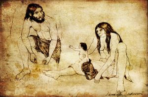 Neanderthal family by arheolog
