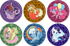 MLP Buttons - Mane6 by TheUnununium