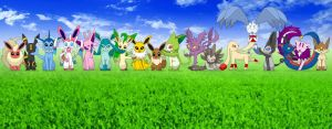 The 18 Elemental Types x Eevee and Evolutions by diasapacibles