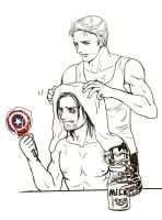 Steve and Bucky after bath by dosruby