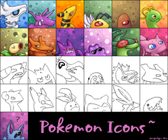 Poke icons for FA and msn by GasMaskMonster