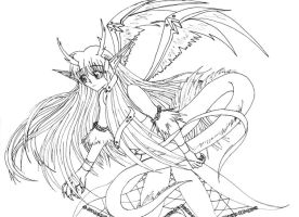 Dragon Anthro Girl Lineart by himeko