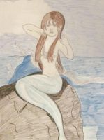 Mermaid on a rock by Slivermoon131