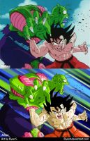 Goku VS Piccolo Jr. Redraw by Elyas11